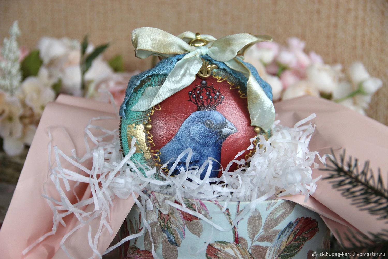 Новогодний шар птица Медальон на елку, Елочные игрушки, Благовещенск,  Фото №1