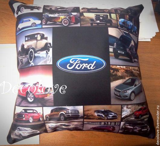 Автомобильные ручной работы. Ярмарка Мастеров - ручная работа. Купить Подушка с логотипом Ford подарок для автолюбителя подушка в машину. Handmade.