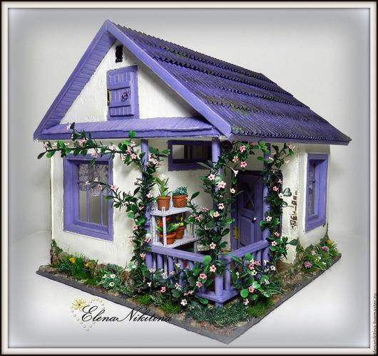 Кукольный дом ручной работы. Ярмарка Мастеров - ручная работа. Купить Домик с верандой.. Handmade. Домик, мини, гофрокартон, текстиль