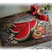 Картины и панно ручной работы. Ярмарка Мастеров - ручная работа Панно Арбузный август. Handmade.