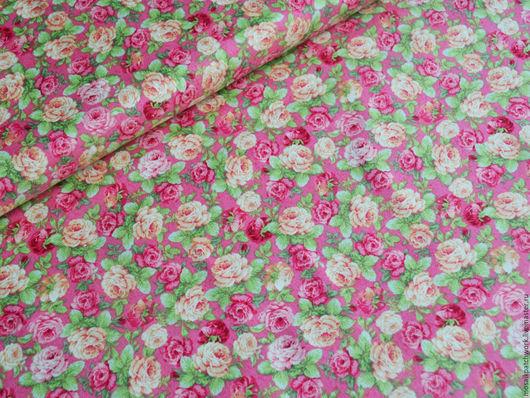 """Шитье ручной работы. Ярмарка Мастеров - ручная работа. Купить Хлопок ткань для шитья. Корея. """"Розы на ярко-розовом"""". Handmade."""