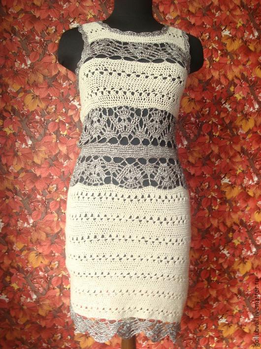 Платья ручной работы. Ярмарка Мастеров - ручная работа. Купить платье матовый лен  и блестящая вискоза. Handmade. Бежевый