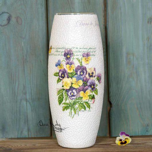 ваза стеклянная, ваза анютины глазки, ваза для дома, ваза белая, ваза в подарок, ваза скорлупа