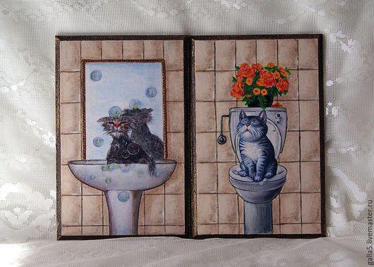 Ванная комната ручной работы. Ярмарка Мастеров - ручная работа. Купить Бирочки на двери для ванной и туалетной комнаты.. Handmade. Разноцветный