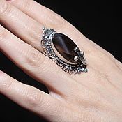 Украшения handmade. Livemaster - original item Immia ring with smoky quartz in 925 silver AN0021. Handmade.