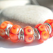 Материалы для творчества handmade. Livemaster - original item Beads for bracelet Red orange lampwork. Handmade.