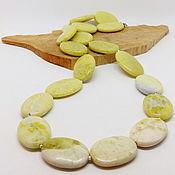 Работы для детей, handmade. Livemaster - original item Jade beads Lemon and honey 57 cm. Handmade.