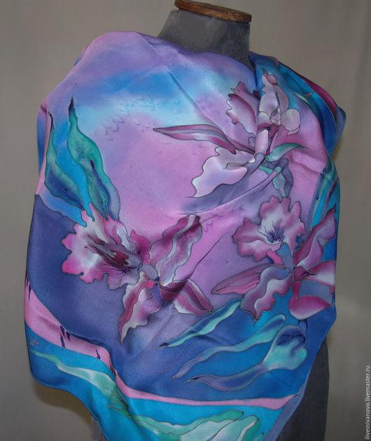 """Шали, палантины ручной работы. Ярмарка Мастеров - ручная работа. Купить Платок """" Настроение"""". Handmade. Голубой, розовый, изумрудный"""
