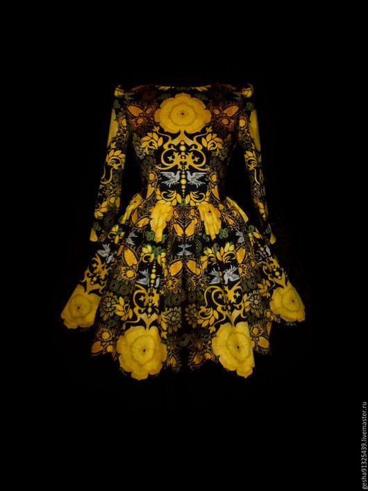 """Платья ручной работы. Ярмарка Мастеров - ручная работа. Купить Платье """"На основе гжели"""" в темном. Handmade. Черный, москва"""