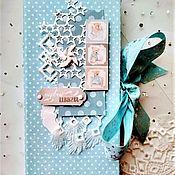 Фотоальбомы ручной работы. Ярмарка Мастеров - ручная работа Голубой миниальбом для малыша Первые шаги скрапбукинг. Handmade.