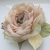 handmade. Livemaster - original item Brooch flower fabric chiffon rose