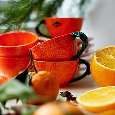 Посуда ручной работы. Ярмарка Мастеров - ручная работа Новогодние мандаринки! Чайная пара ручной работы, керамика. Handmade.