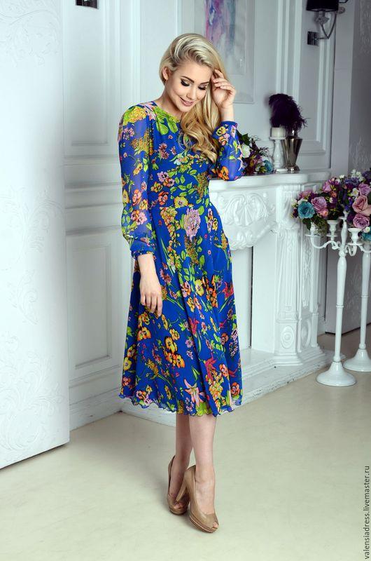 Платье летнее, синее цветочное платье, платье миди, платье из шифона