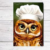 """Открытки ручной работы. Ярмарка Мастеров - ручная работа Открытка для посткроссинга """"Сова-повар"""". Handmade."""