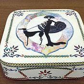"""Для дома и интерьера ручной работы. Ярмарка Мастеров - ручная работа Шкатулка """"Девушка с собачкой"""". Handmade."""