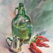 Картины и панно handmade. Livemaster - original item Painting watercolor. Still life. Bottle, teapot and peppers. Handmade.