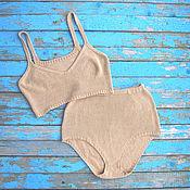 Одежда ручной работы. Ярмарка Мастеров - ручная работа вязаное белье, слипы, бра. Handmade.