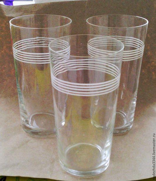 Винтажная посуда. Ярмарка Мастеров - ручная работа. Купить Стаканы тонкого стекла. 8 шт. Винтаж.. Handmade. Белый, стекло