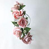Свадебный салон handmade. Livemaster - original item Bezel with a delicate powdery rose. for the bride hairstyle.. Handmade.