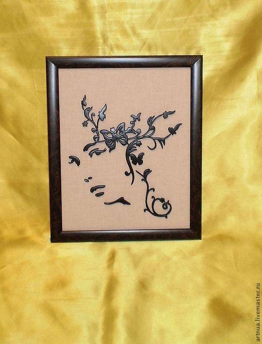 """Люди, ручной работы. Ярмарка Мастеров - ручная работа. Купить Картина из дерева """"Девушка весна"""". Handmade. Черный, картина"""