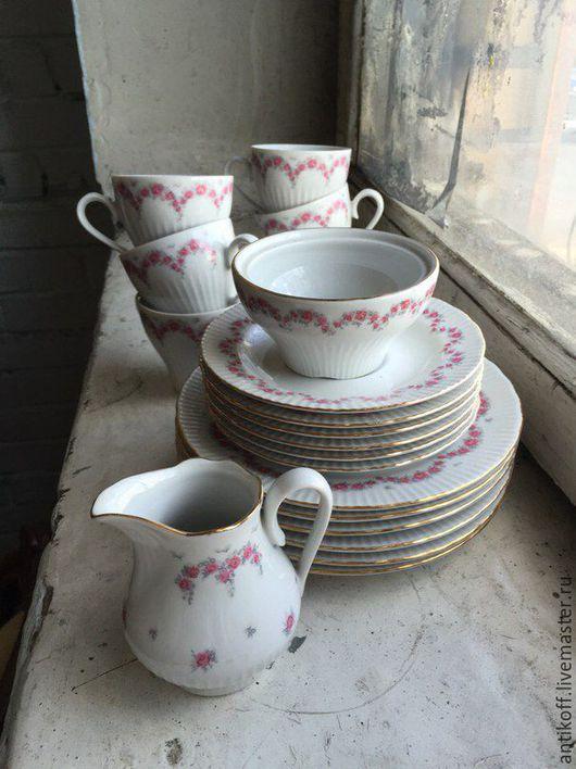 Винтажная посуда. Ярмарка Мастеров - ручная работа. Купить Кофейный сервиз Ilmenau. Handmade. Розовый, фарфоровый сервиз, посуда, для чаепития