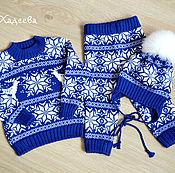 """Джемперы ручной работы. Ярмарка Мастеров - ручная работа Комплект для малыша - """"Синий с белым"""". Handmade."""