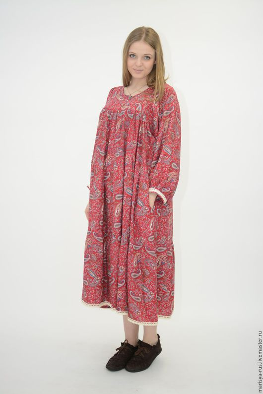 """Одежда ручной работы. Ярмарка Мастеров - ручная работа. Купить Платье """"Лада"""". Handmade. Ярко-красный, штапель"""