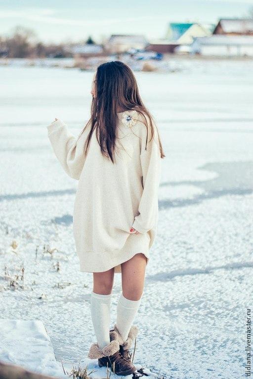 Кофты и свитера ручной работы. Ярмарка Мастеров - ручная работа. Купить Платье-свитер Пелена. Handmade. Бежевый