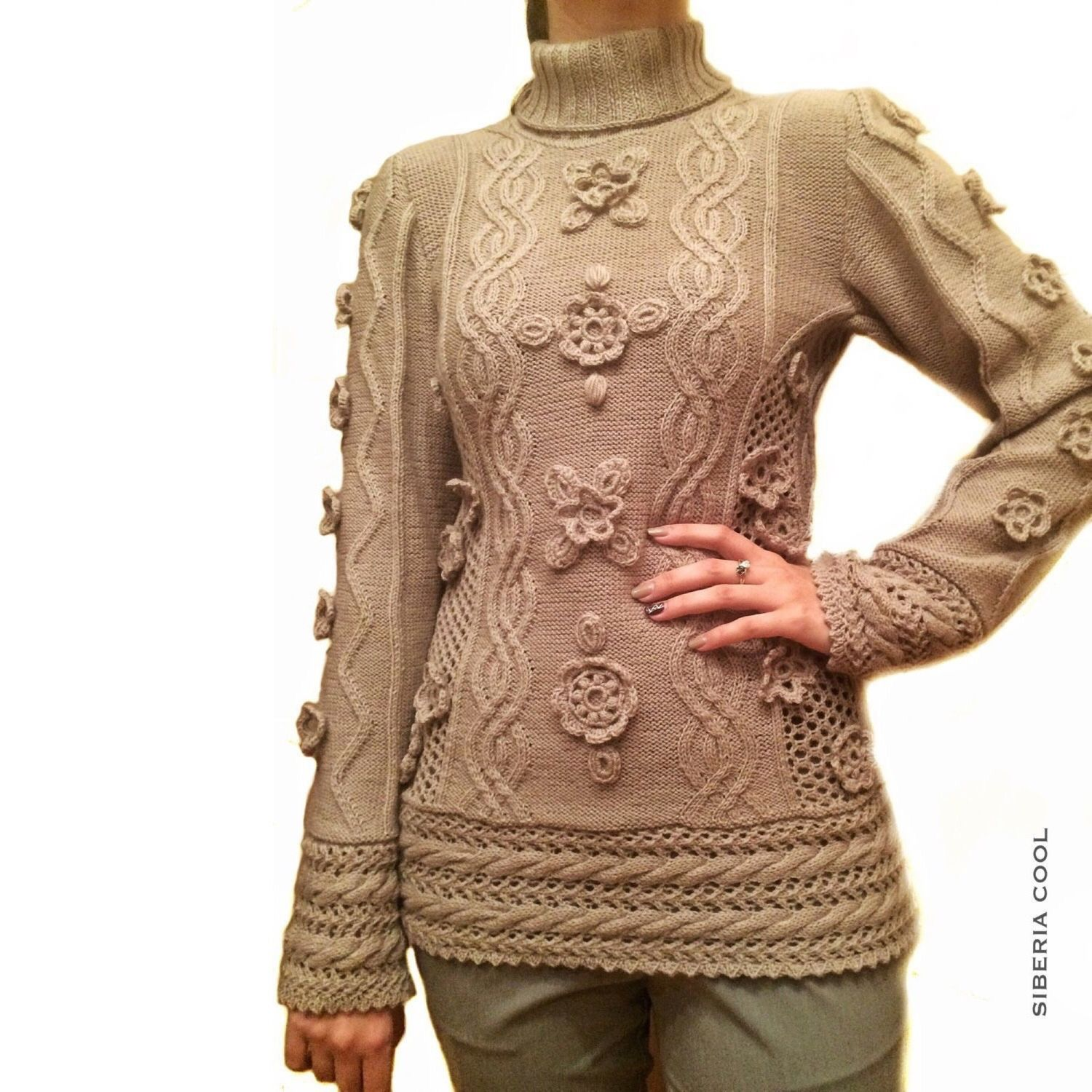 Sweater female knitted spokes Floral openwork, Merino wool, Sweaters, Voronezh,  Фото №1