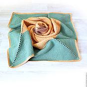 Для дома и интерьера handmade. Livemaster - original item Plaid children`s Merino knitted wool, green, yellow. Handmade.