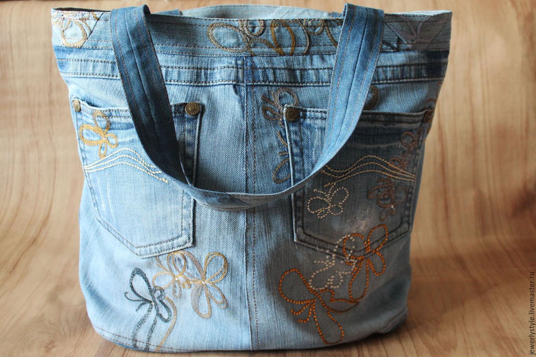 как сшить сумку из джинсовых брюк фото да