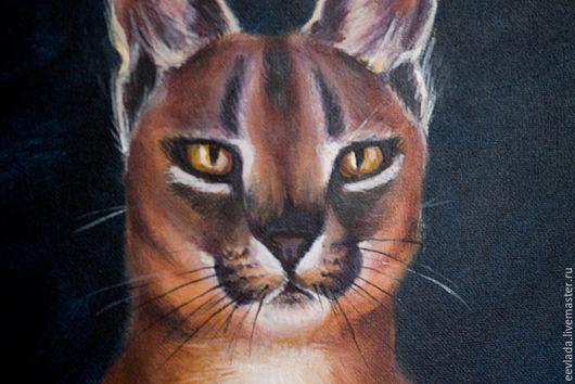 Животные ручной работы. Ярмарка Мастеров - ручная работа. Купить Взгляд дикой кошки. Handmade. Коричневый, краски, животные, кисточки