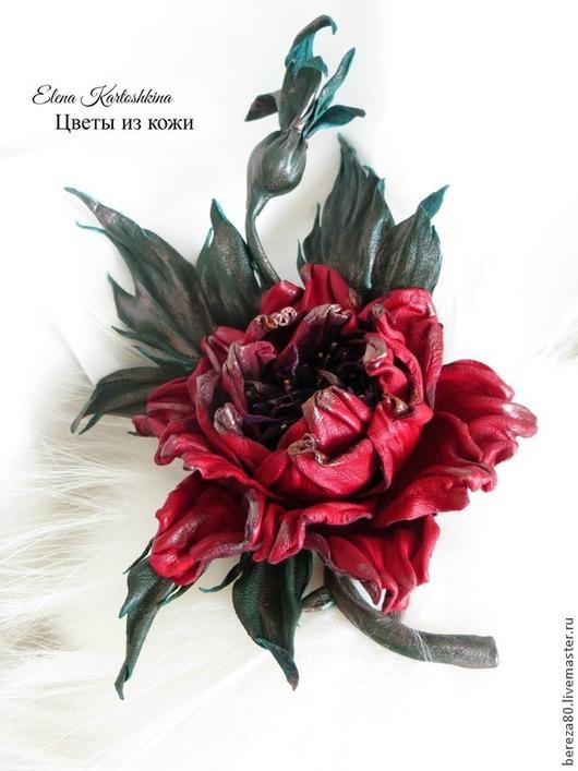 """Броши ручной работы. Ярмарка Мастеров - ручная работа. Купить Роза брошь из кожи """"Бордо""""  ЦВЕТЫ ИЗ КОЖИ. Handmade."""