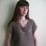 Одежда ручной работы. Ярмарка Мастеров - ручная работа Топ вязаный ажурный коричневого цвета из льна и хлопка. Handmade.