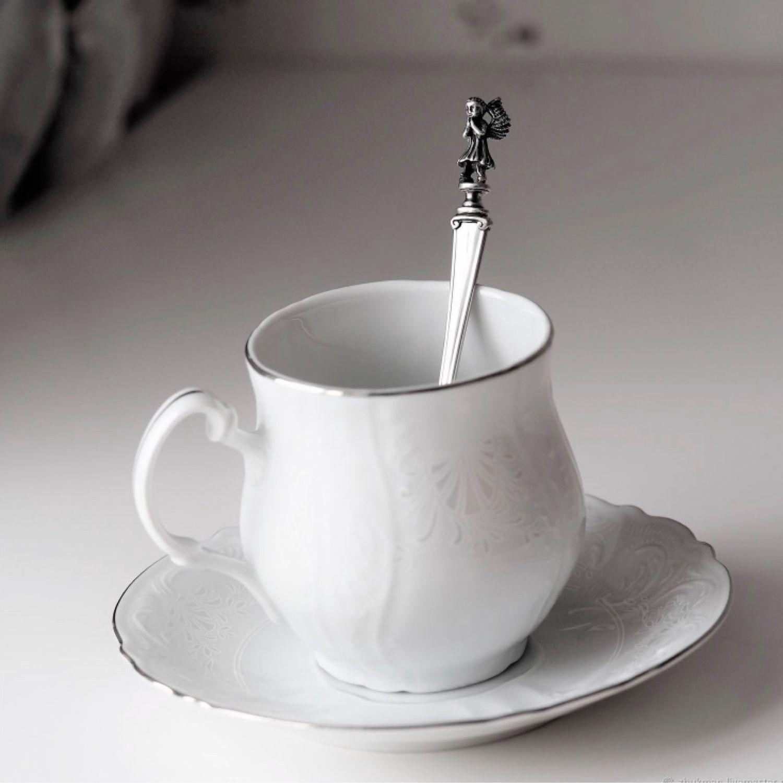 Чайная ложка АНГЕЛОК с чайной парой БАРОККО (чешский фарфор), Подарки для новорожденных, Жуковский,  Фото №1