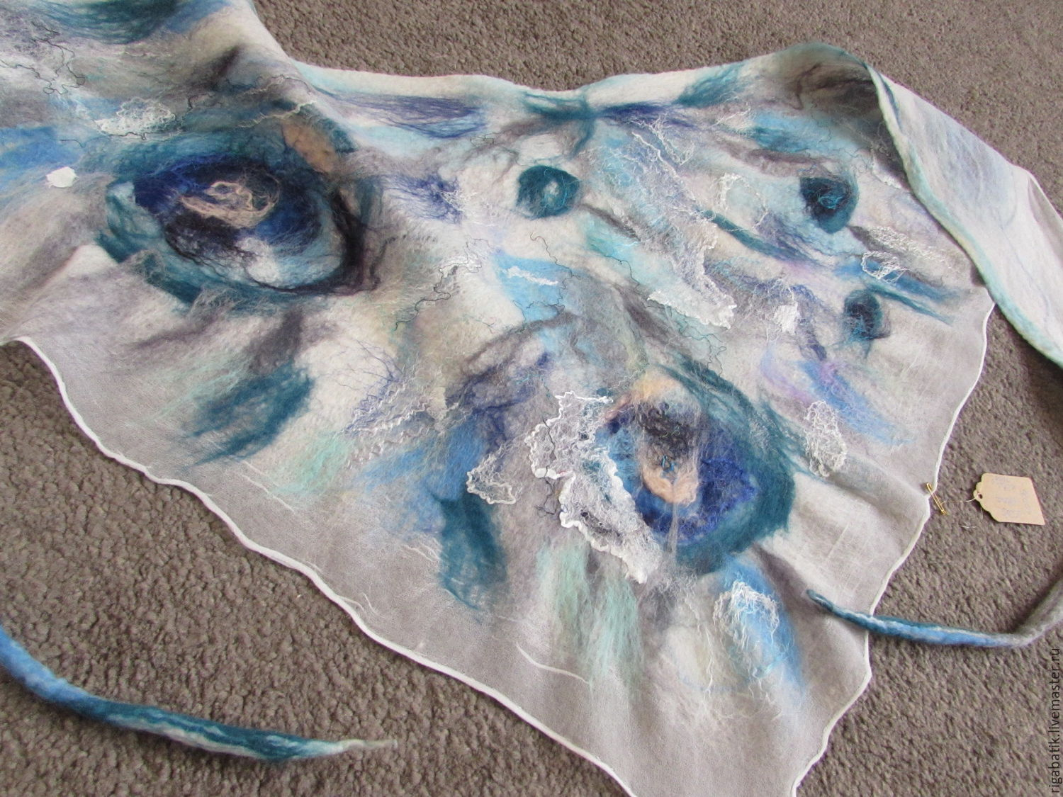 Bacchus - a triangular scarf of wool and silk. Watercolor wool, Scarves, Riga,  Фото №1