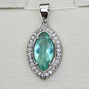 Украшения handmade. Livemaster - original item Silver pendant with 14h7 mm spinel and cubic zirconia. Handmade.