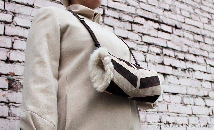 Clutch Hand Bag made of suede and sheepskin fur Cream Chocolate, Clutch, Moscow,  Фото №1