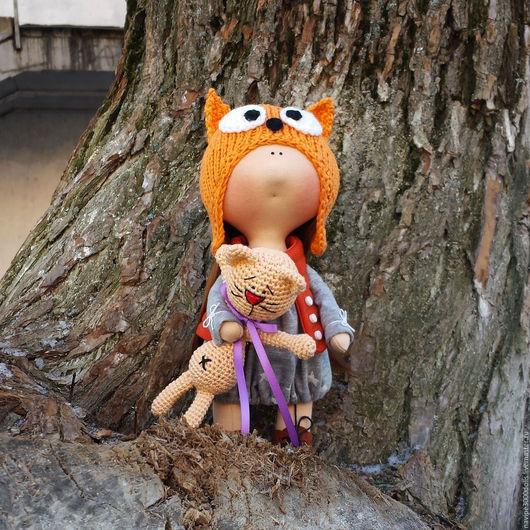 Куклы тыквоголовки ручной работы. Ярмарка Мастеров - ручная работа. Купить Интерьерная кукла Лисенок. Handmade. Оранжевый, кукла текстильная