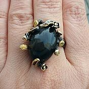 Украшения handmade. Livemaster - original item Silver ring with natural obsidian, size 18. Handmade.