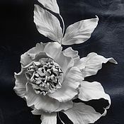 Украшения handmade. Livemaster - original item Leather ornaments.The colors of the skin.GLORIA BROOCH White rose. Handmade.