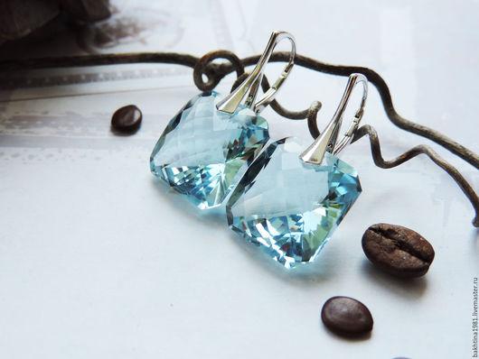"""Серьги ручной работы. Ярмарка Мастеров - ручная работа. Купить Серебряные серьги """"Azure"""". Handmade. Голубой, серебряные серьги камни"""