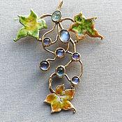 Украшения handmade. Livemaster - original item Silver brooch with floral motifs and lunar stones. Handmade.