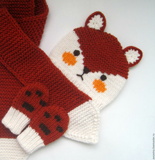 """Детские аксессуары ручной работы. Ярмарка Мастеров - ручная работа. Купить Детский вязаный комплект """"Лисичка"""" - шапка, шарф и варежки. Handmade."""