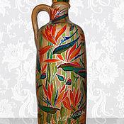 Посуда ручной работы. Ярмарка Мастеров - ручная работа Бутылка Стрелиции, роспись по керамике. Handmade.
