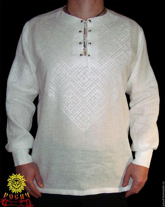 Рубаха славянская льняная обережная `Белобог`. 100% лён. Вышивка крестом.