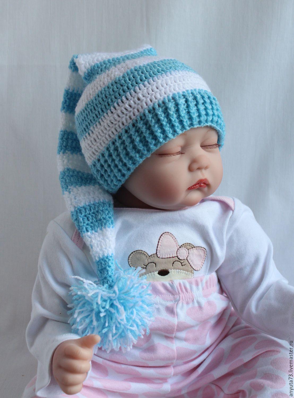 Вязание шапочки с ушками для новорожденного мальчика 28