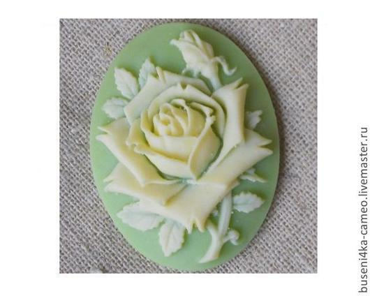 Для украшений ручной работы. Ярмарка Мастеров - ручная работа. Купить Камея Роза салатовая 30х40мм (пластик) 1шт.. Handmade.
