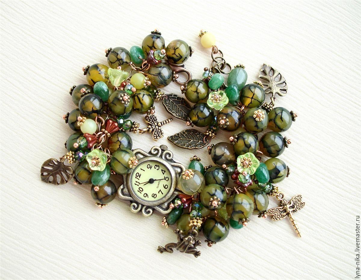 Женские часы с браслетом из натуральных камнямей