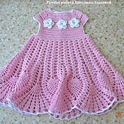 Работы для детей, ручной работы. Ярмарка Мастеров - ручная работа Розовое платье для девочки  связанное крючком. Handmade.